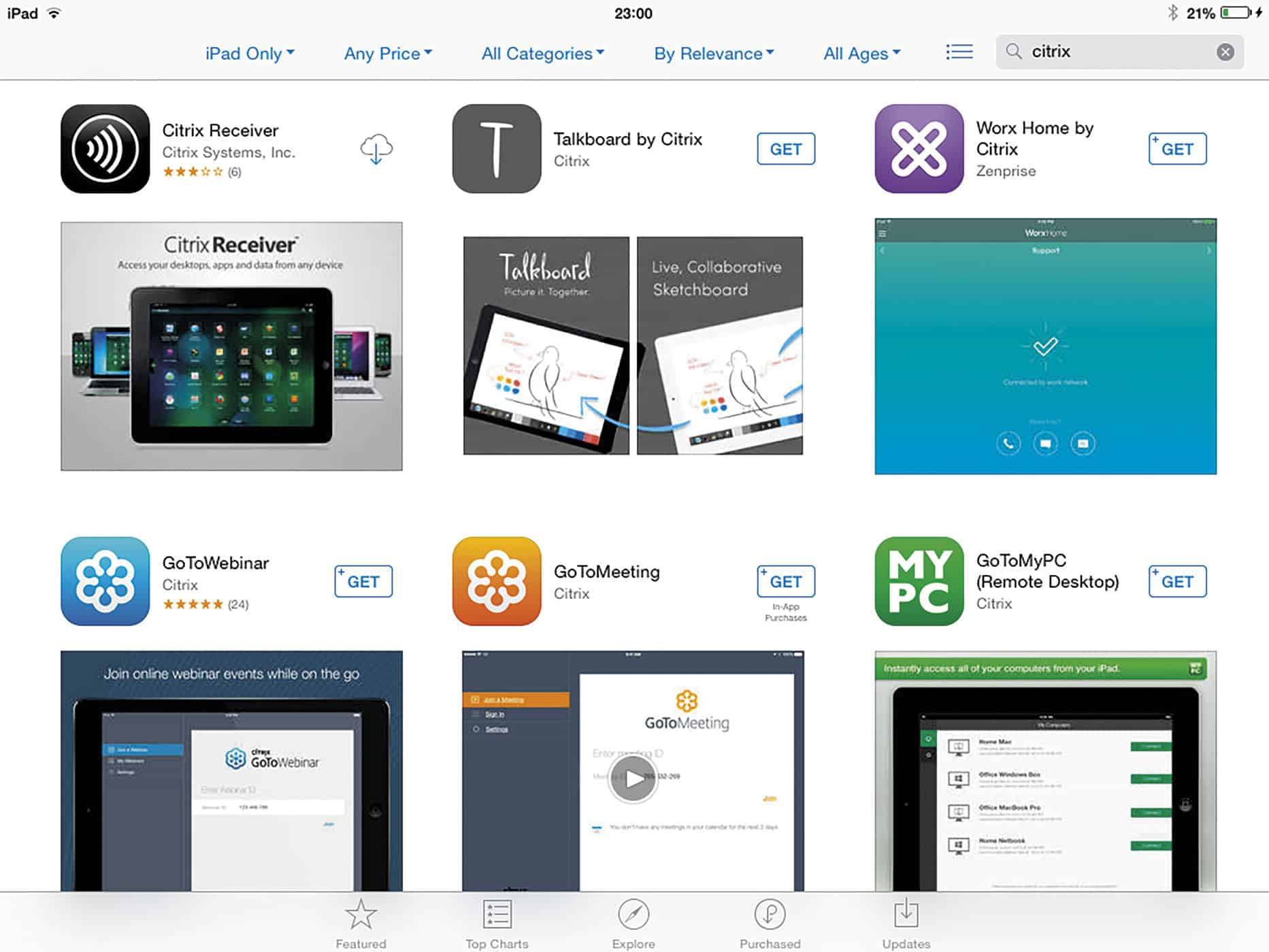 Add Citrix Receiver from the App Store