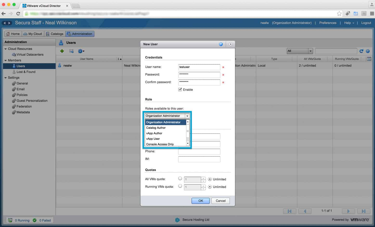 Complete the User Information and Select Their Role