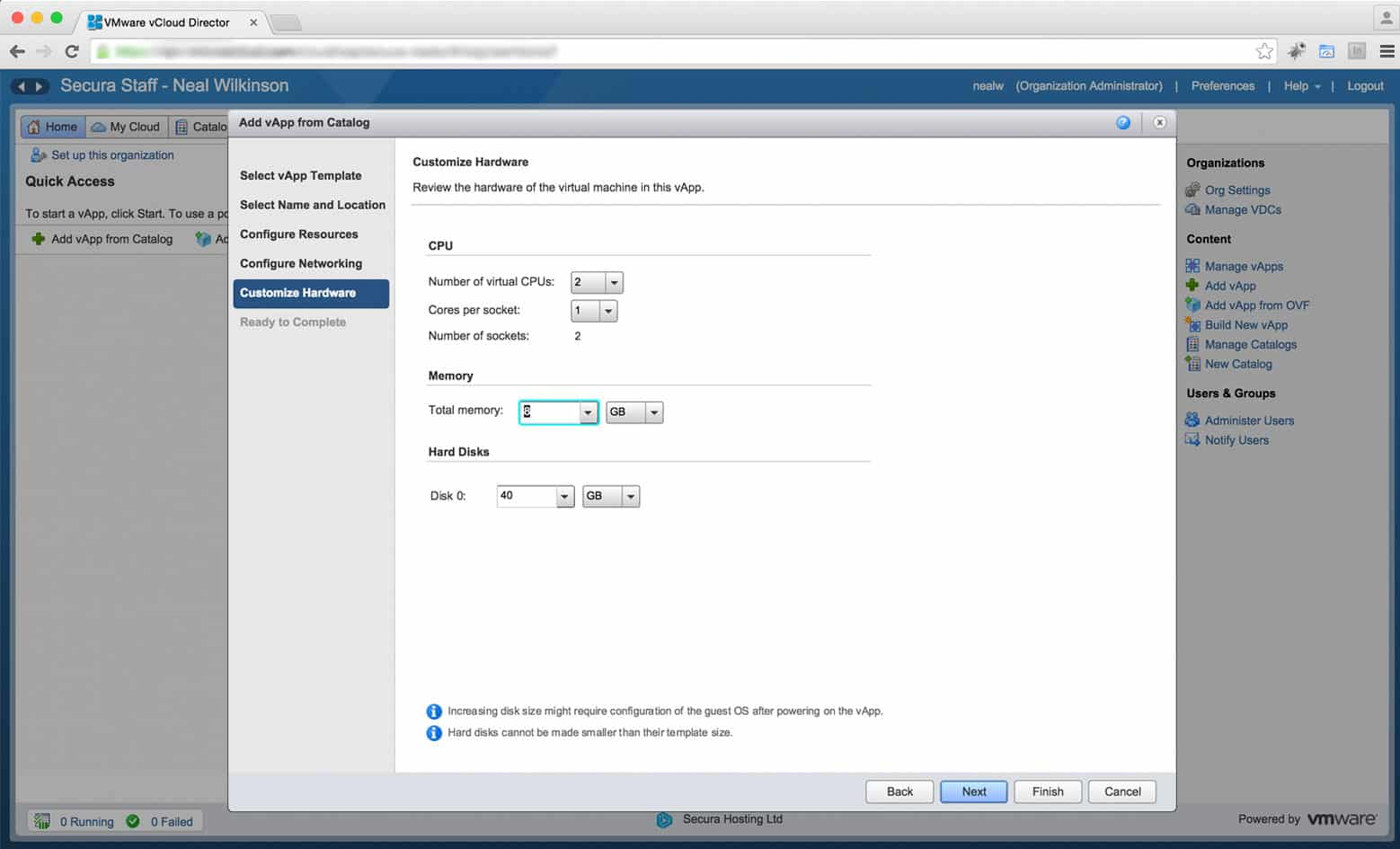 Configure the VMs Resource Levels