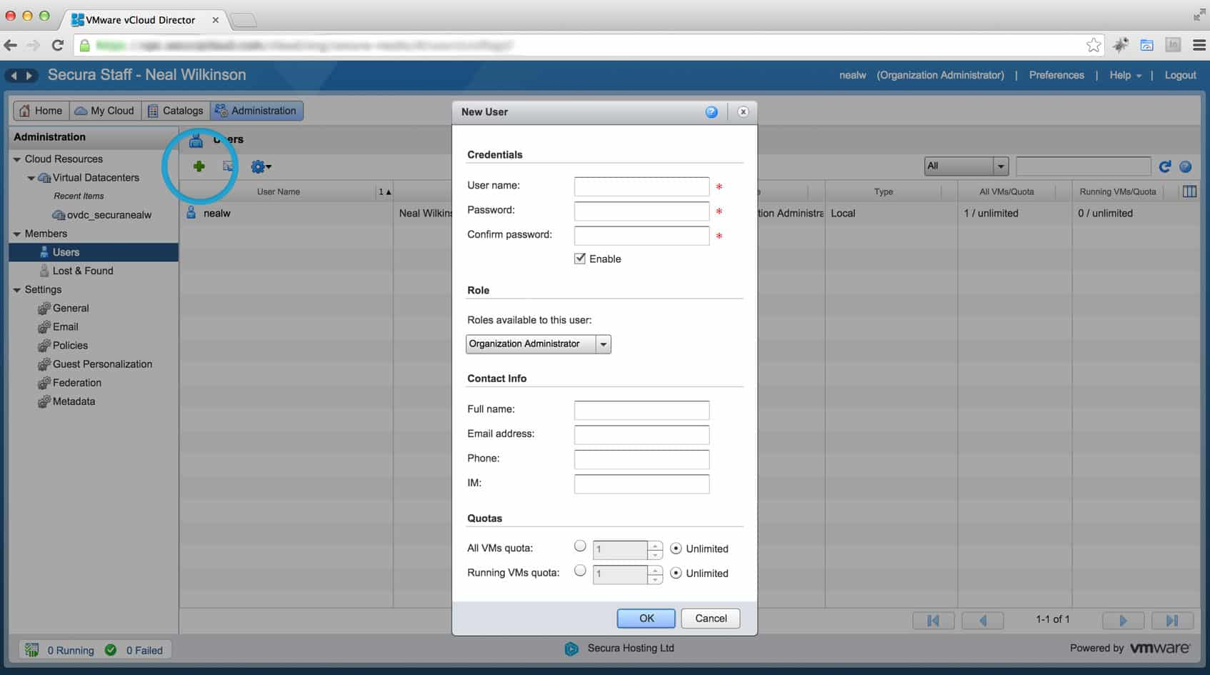 Add User Accounts to vCloud